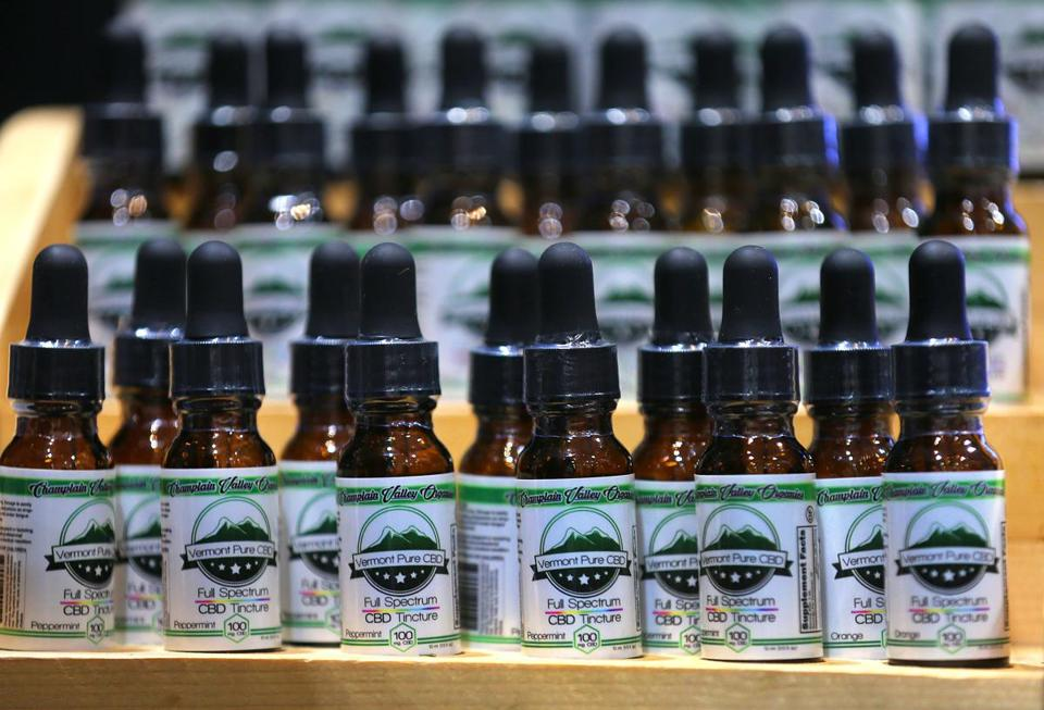 Boston 02/13/19 The National Cannabis Industry Association Seed to Sale covention was held at the Hynes Convention Center. Bottles of CBD tincture from Vermont Pure CBD that were available for purchase there. Photo by John Tlumacki/Globe Staff(metro)