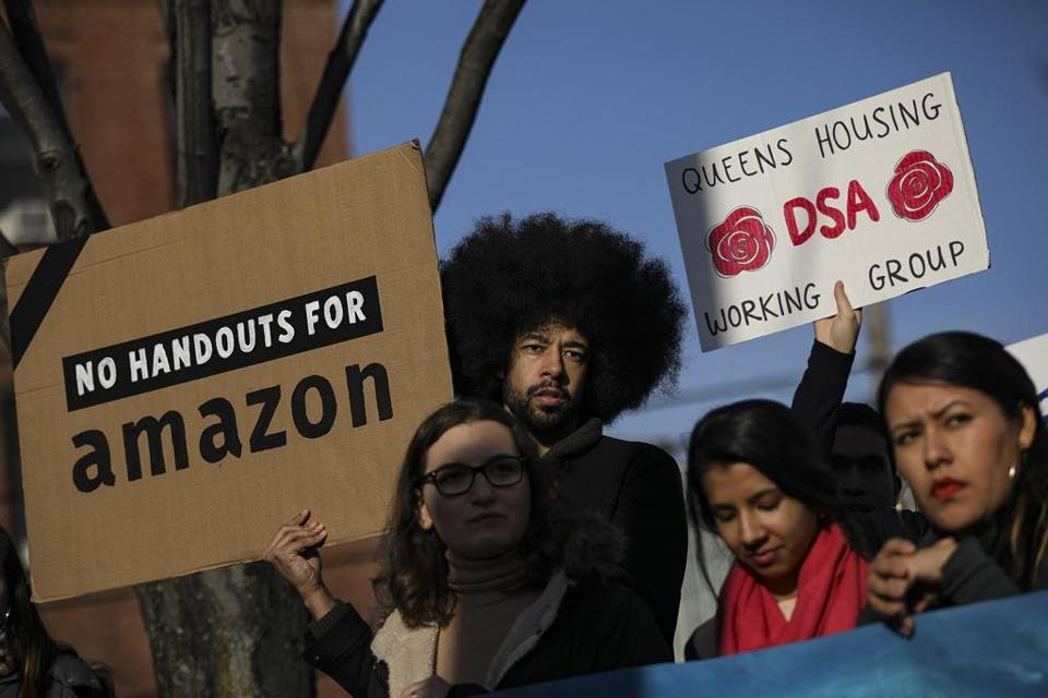 Activists and community members who opposed Amazon's plan to move into Queens rallied Thursday in Long Island City to celebrate the company's decision to pull out of the deal.