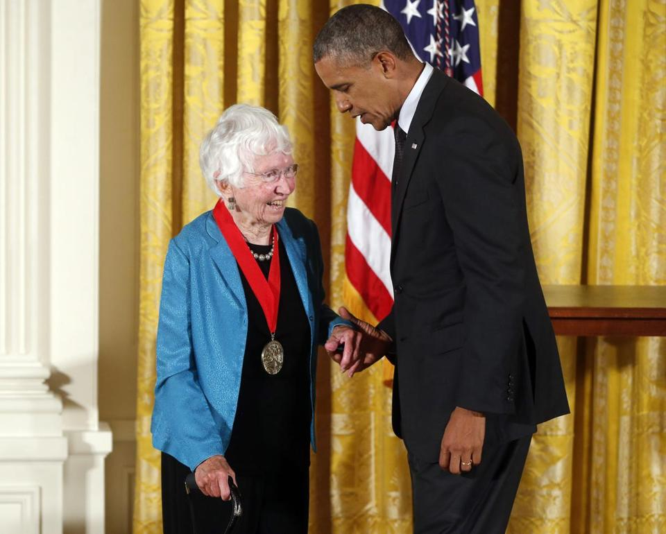 President Barack Obama awarded the 2013 national Humanities Medal to Anne Firor Scott.