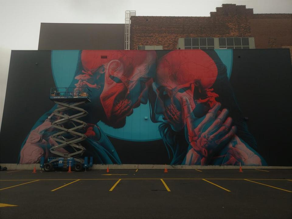 Artist Insane51's mural in Worcester gives viewers three different perspectives. This is the normal view. (Lisa Drexhage/ Pow! Wow! Worcester!) 16mural