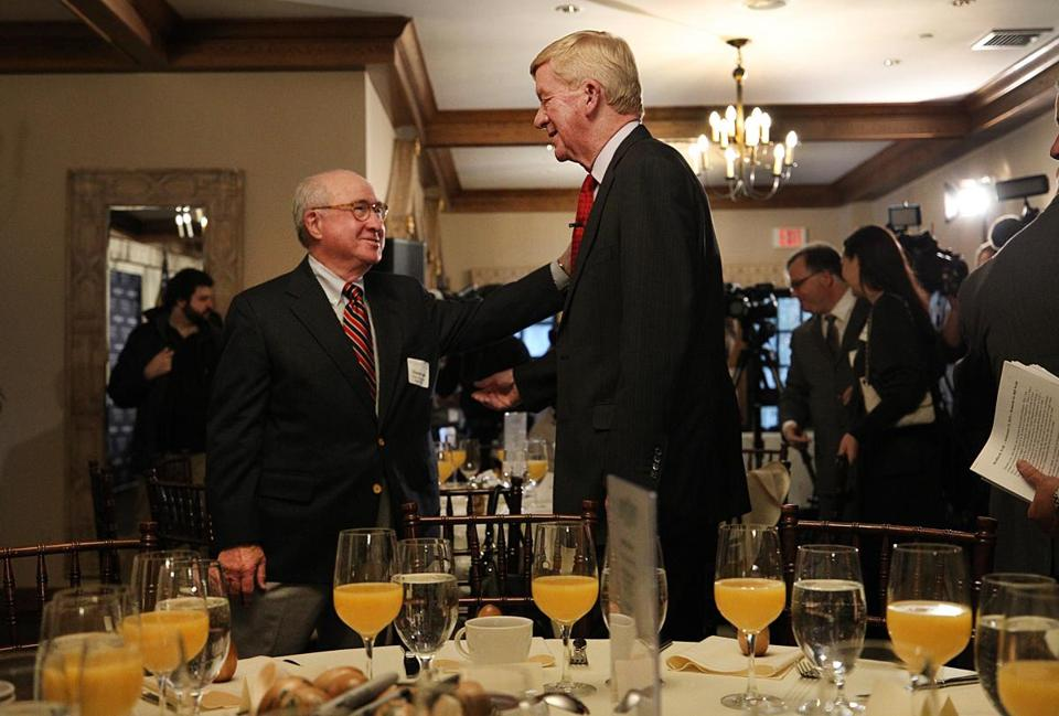 Weld greeted a supporter on Friday.