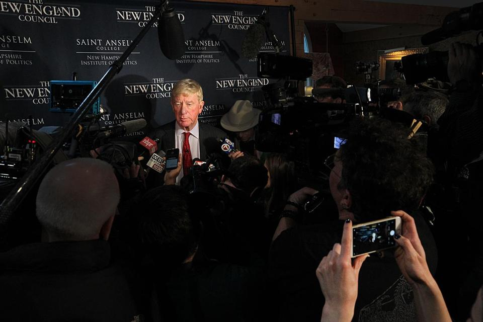 Former Massachusetts governor William F. Weld spoke to the media in Bedford, N.H., on Friday.