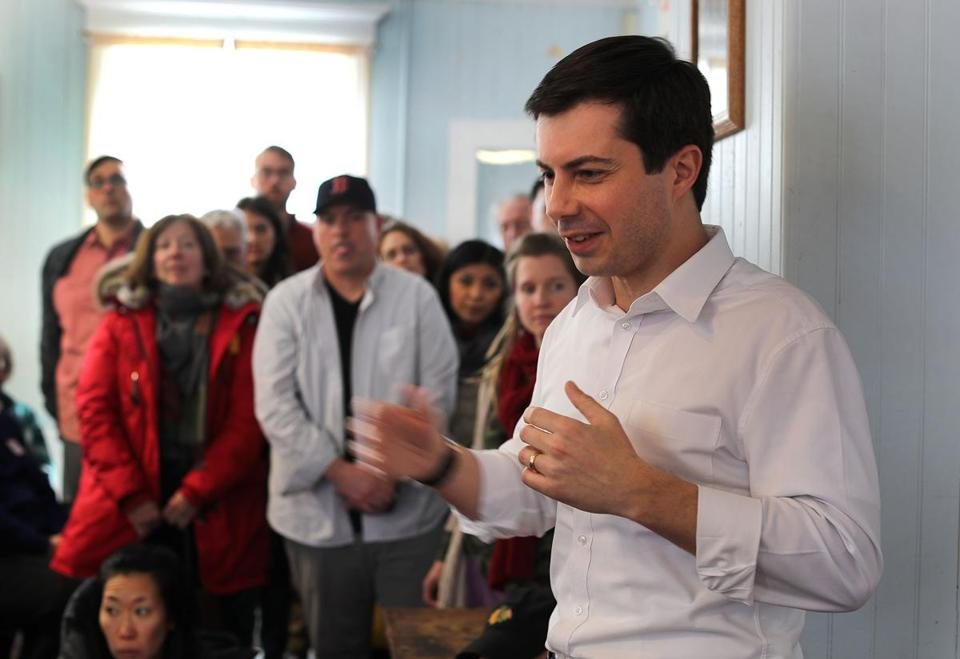 South Bend, Ind., Mayor Pete Buttigieg spoke at a meet-and-greet event Saturday in Raymond, N.H.