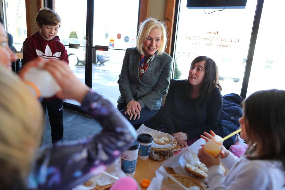 Senator Kirsten Gillibrand visited several businesses in Downtown Exeter as the presidential hopeful was in New Hamshire for the weekend.