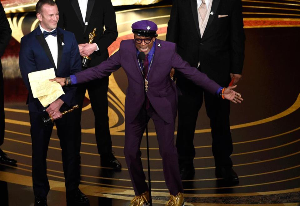 Spike Lee after winning the Academy Award for best adapted screenplay.