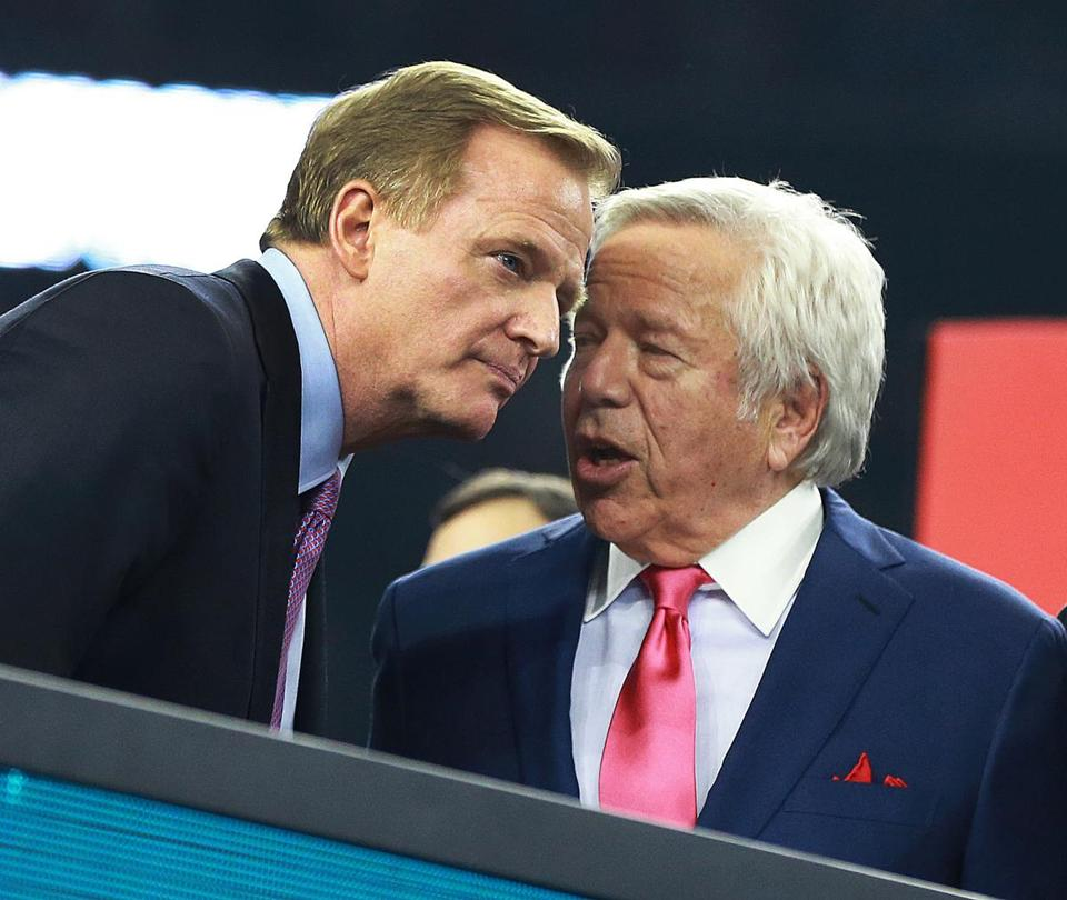 One Patriots fan said NFL Commissioner Roger Goodell (left) has it out for the Patriots. Owner Robert Kraft has denied breaking any laws.