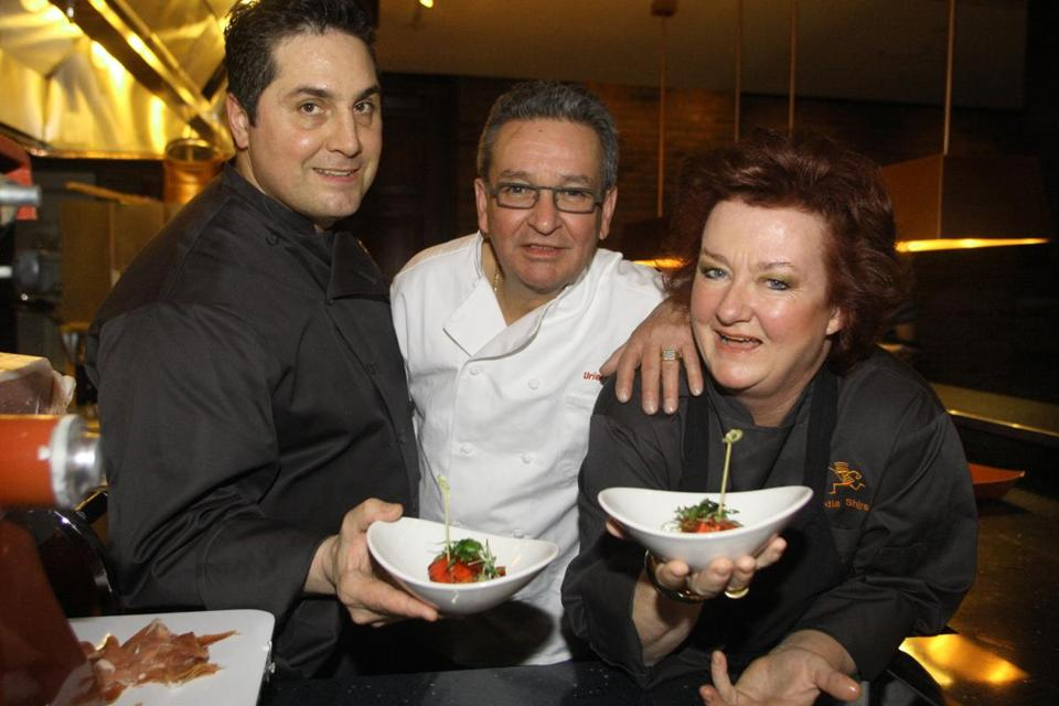 Lydia Shire with Uriel Pineda (center) and chef Mario Capone at Scampo.