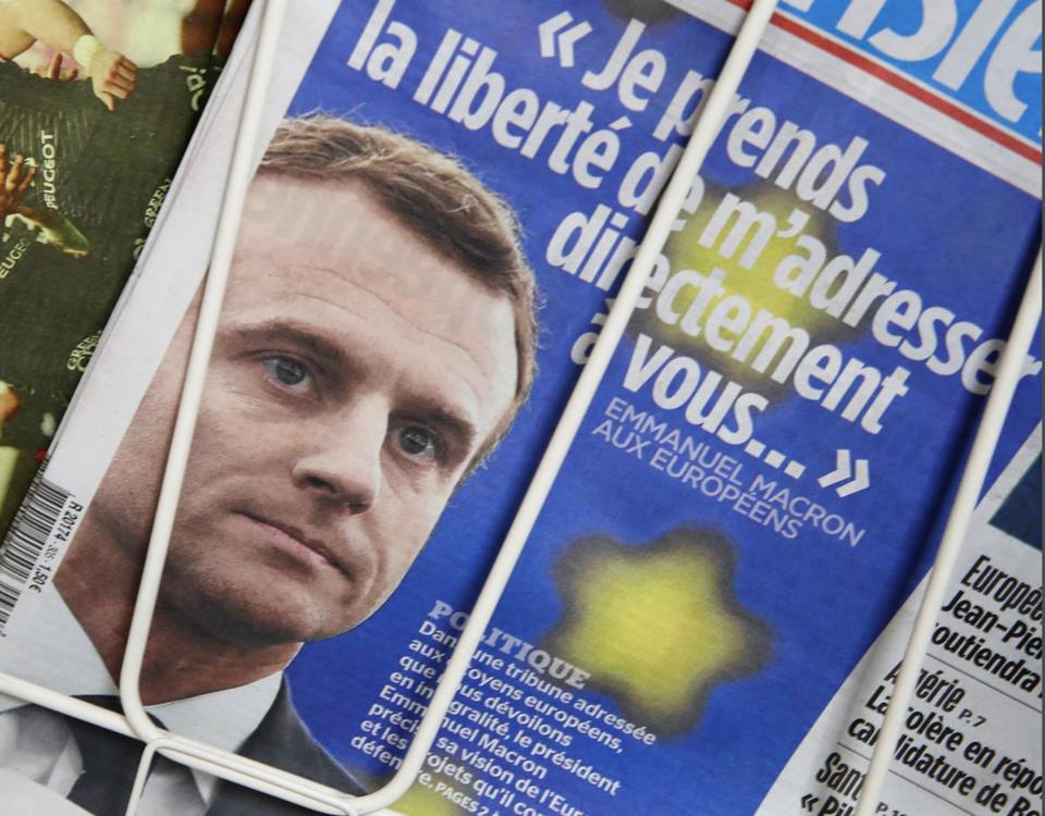 Macron's plea for Europe lays down battle lines for May vote