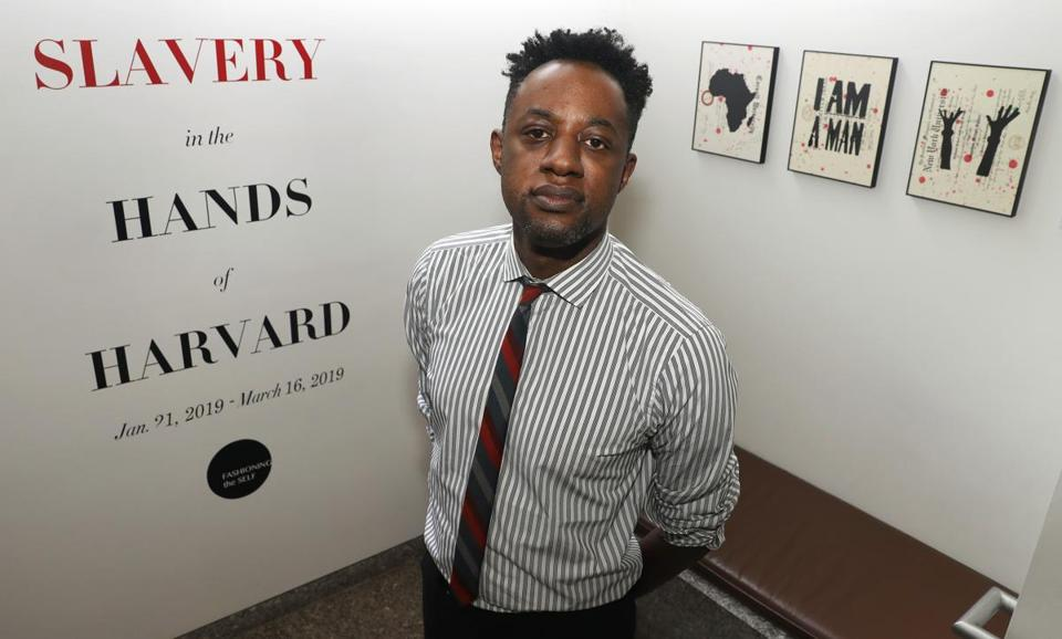 "Harvard historian Jonathan Square curated the exhibit ""Slavery in the Hands of Harvard."" His own 2019 work, ""Freedom Papers?"", is shown at right."