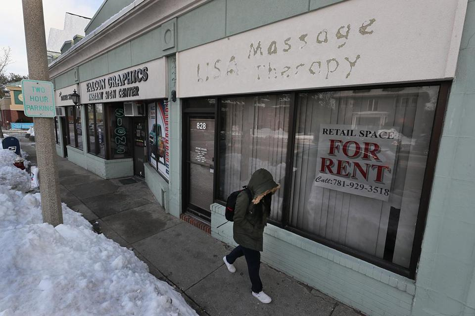 The empty store at 828 Mass. Ave. in Arlington once housed a massage parlor.