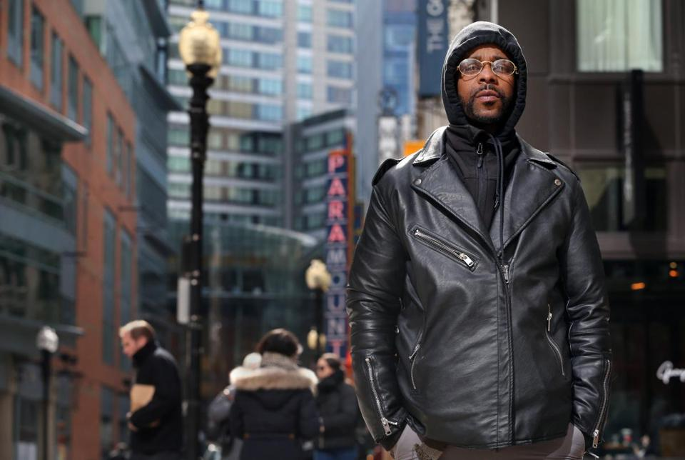 BOSTON, MA - March 07, 2019: - Anthony Watson poses for a portrait at Downtown Crossing in Boston, MA on March 06, 2019. Watson, 32, was allegedly beaten by a Transit Police officer last summer, then falsely arrested in an effort by the officer and two sergeants to cover it up. Watson spent the night in jail before being released. (Craig F. Walker/Globe Staff) section: Metro reporter: