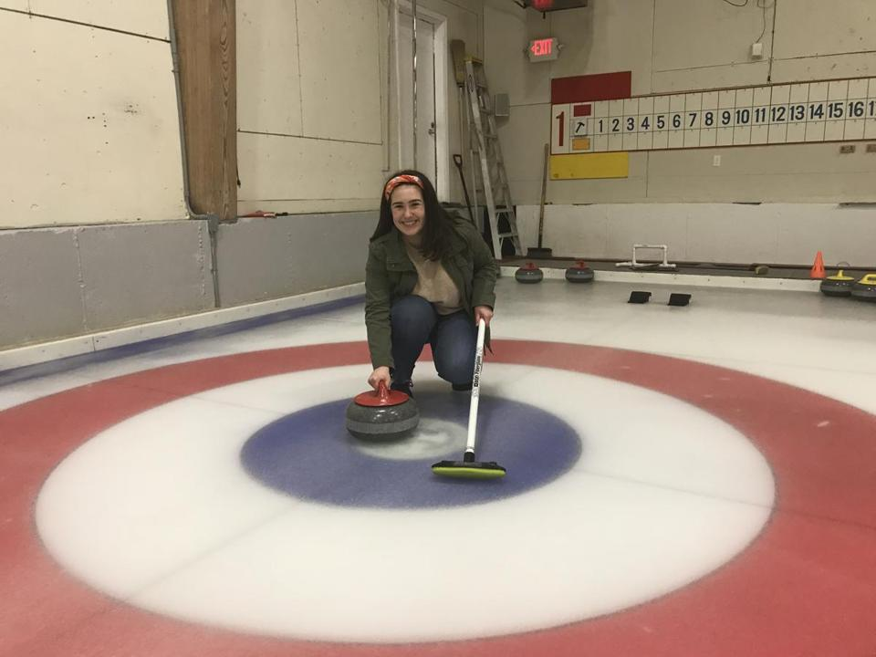 Co-op/correspondent Jenna Ciccotelli at the Broomstones Curling Club in Wayland for 08curling. (Handout)