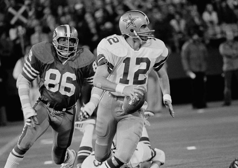 Mr. Hardman lined up a tackle on the Cowboys' quarterback, Roger Staubach.