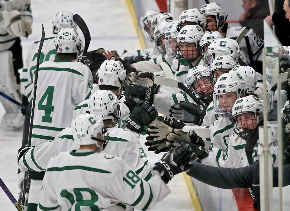 Bourne MA 3/10/19 Canton High bench celebrates teammate Ryan Colby's goal against Westwood High during second period action of the MIAA Division D2 South boys' hockey final at Gallo Rink. (photo by Matthew J. Lee/Globe staff) topic: reporter: