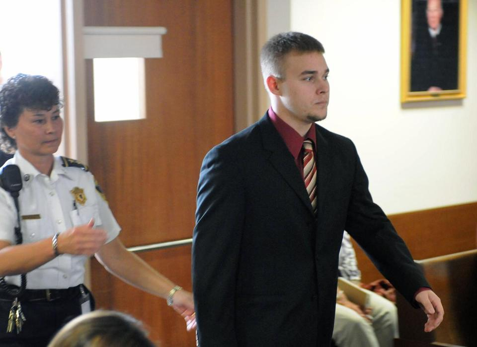 Sean Mulveyhill, right, enters a court room before a pretrial hearing in Hampshire Superior Court, in Northampton, Mass., Wednesday, Sept. 15, 2010. Mulveyhill is one of six South Hadley, Mass., teens charged in connection with South Hadley High School freshman Phoebe Prince's suicide in January of 2010. (AP Photo/Dave Roback, The Republican) Library Tag 09162010 Metro Library Tag 04282011 Metro
