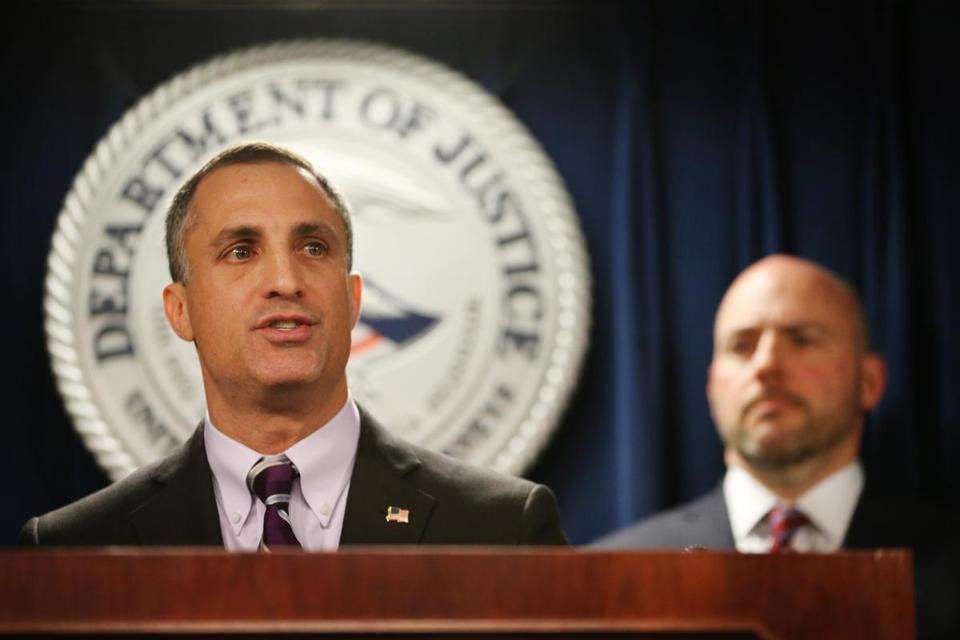 Joseph R. Bonavolonta, Special Agent in Charge Federal Bureau of Investigation, Boston Field Office during a press conference at the federal courthouse in Boston on March 12.