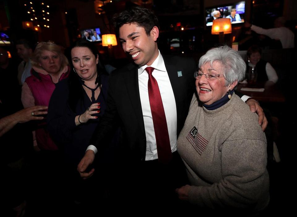 Fall River Mayor Jasiel Correia celebrated with supporters Tuesday after the city's mayoral recall election, in which voters overwhelmingly booted him out of office and, on the same ballot, narrowly reelected him.