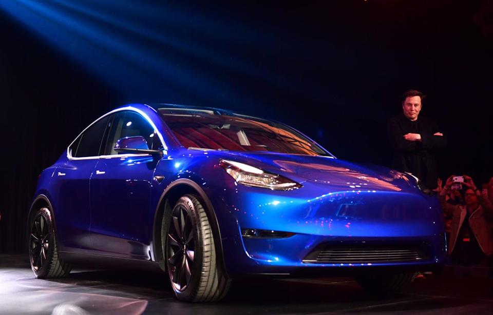 CEO Elon Musk unveiled the new Tesla Model Y Thursday.