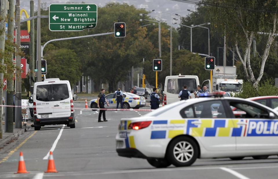 Police blocked the road near the shooting at a mosque in Christchurch, New Zealand, on Friday.