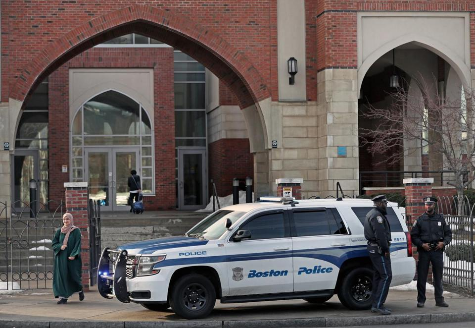 Boston police maintained a presence outside the Islamic Society of Boston Cultural Center mosque in Roxbury Friday.