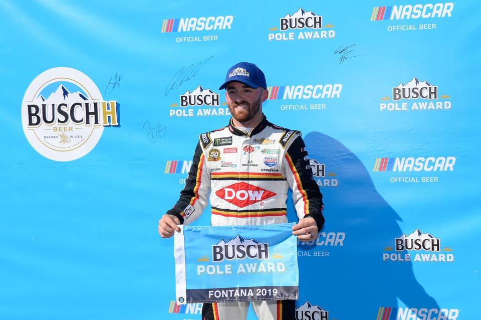 Wins in the first two rounds of qualifying earned Austin Dillon the pole for Sunday's NASCAR Cup race in Fontana, Calif.