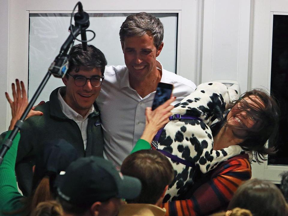 "3-19-19: Keene, NH: Former Texas Congressman Robert ""Beto"" O'Rourke kicked off his campaign for the democrat presidential nomination with a meet and greet event held in the Keene State College Student Center. After he spoke and took questions, he posed for individual photos with people, incuding one who had a dog with her at right. (Jim Davis /Globe Staff)."