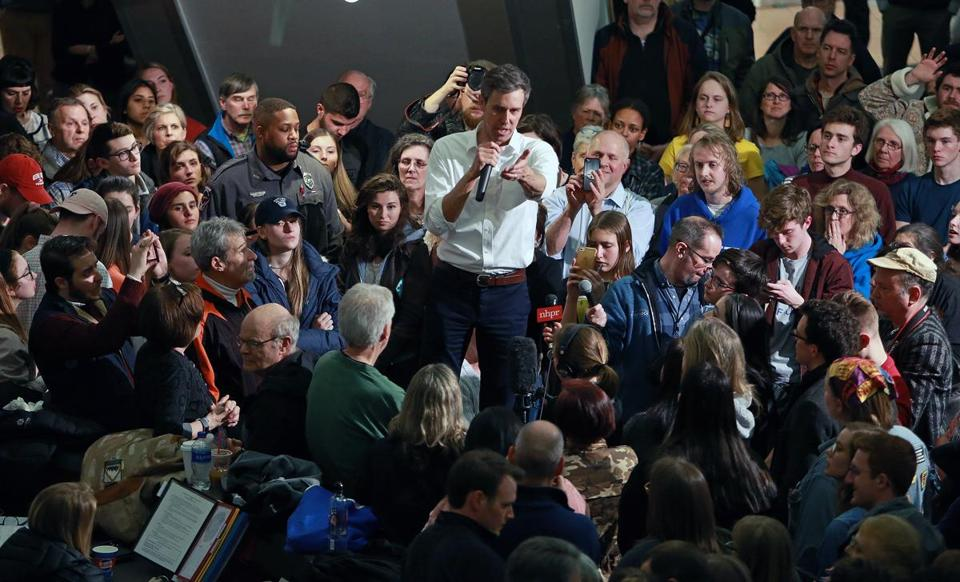 "3-19-19: Keene, NH: Former Texas Congressman Robert ""Beto"" O'Rourke kicked off his campaign for the democrat presidential nomination with a meet and greet event held in the Keene State College Student Center. (Jim Davis /Globe Staff)."