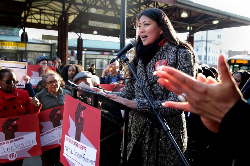 03/20/2019 Boston MA- The President of the Boston Teachers Union , Jessica Tang (cq) speaking at rally, outside of the Bolling Building, Educators, were asking for better schools and a new contract. Jonathan Wiggs /Globe StaffReporter:Topic: