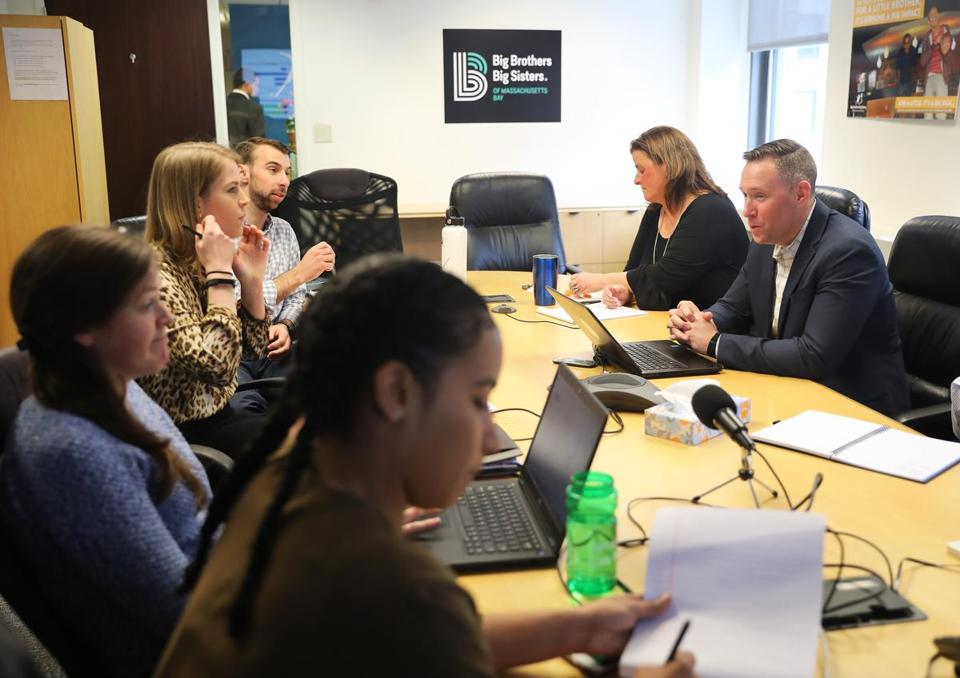 Boston, MA - 3/21/19 A regular staff meeting is conducted. Big Brothers Big Sisters of Massachusetts Bay (cq) is being squeezed out of its 8th-floor office, at 75 Federal Street in Boston, because of a rent increase. Photo by Pat Greenhouse/Globe Staff Topic: 21nonprofits Reporter: Timothy Logan