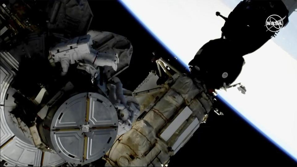 Two astronauts complete 6.5-hour spacewalk, swapping batteries