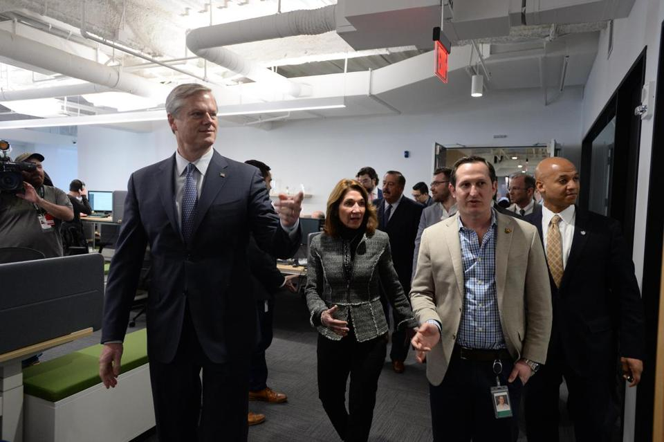 Governor Charlie Baker and Lieutenant Governor Karyn Polito got a tour of DraftKings' new headquarters from CEO and cofounder Jason Robins (right, light-colored jacket).