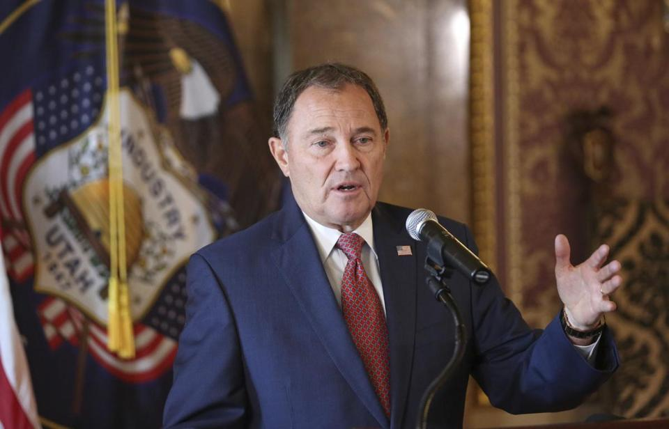 Utah Governor Gary Herbert gestured during a news conference at the Utah State Capitol in Salt Lake City.