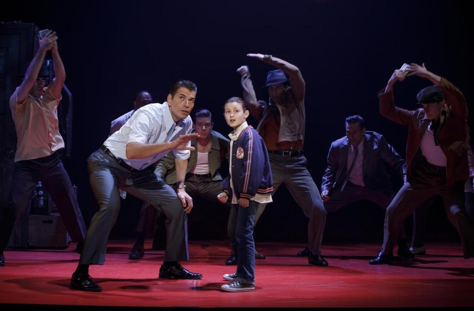 Joe Barbara (Sonny) and Frankie Leoni (Young C) and Company of A BRONX TALE. Photo: Joan Marcus