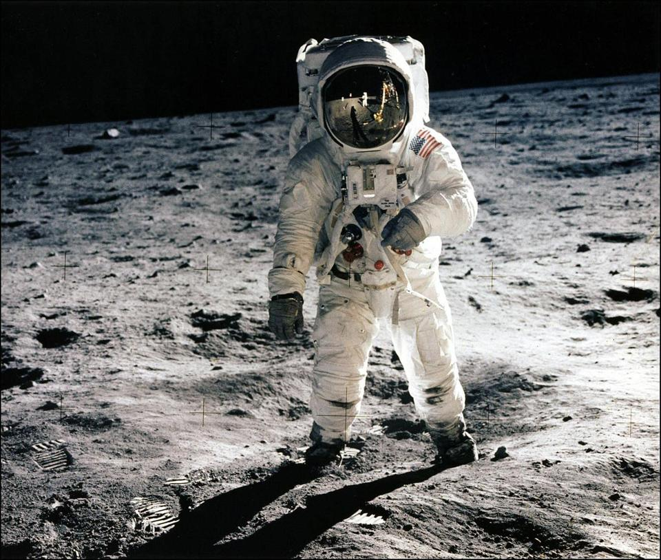 "Astronaut Edwin ""Buzz"" Aldrin Jr. walked on the surface of the moon on July 20, 1969."