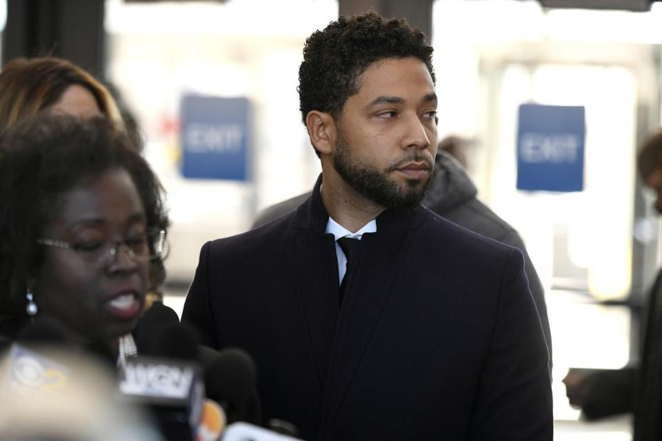 Actor Jussie Smollett looks on during a press conference before leaving Cook County Court after his charges were dropped Tuesday, March 26, 2019, in Chicago. (AP Photo/Paul Beaty)