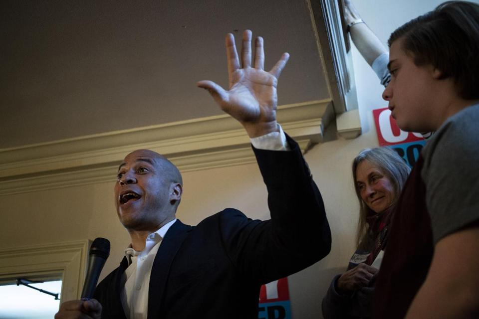 New Jersey Senator Cory Booker, pictured at a campaign event last month, courted wealthy donors at a weekend fund-raiser.