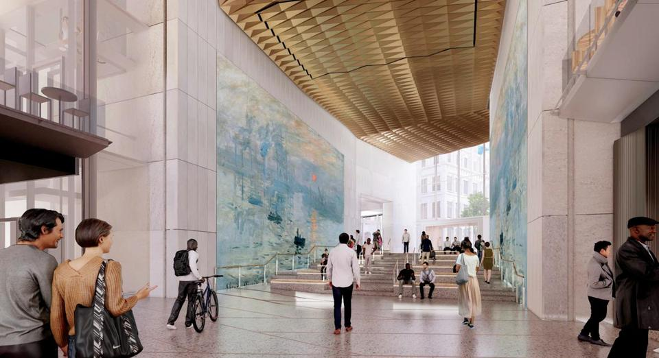 Renderings of lobby of Winthrop Square Tower. April 2019. BUSINESS 4-2-19