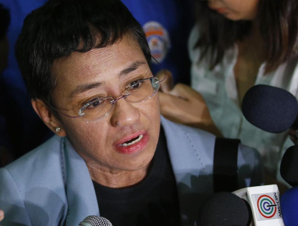 "FILE - In this Feb. 14, 2019 file photo Maria Ressa, the award-winning head of a Philippine online news site Rappler, talks to the media after posting bail at a Regional Trial Court following an overnight arrest by National Bureau of Investigation agents on a libel case in Manila, Philippines. More than a dozen global news organizations including The Associated Press have formed a coalition to spotlight the world's most threatened journalists. Member editors and publishers of the One Free Press Coalition will publish across platforms each month a ""10 Most Urgent"" list of journalists whose press freedoms are being abused. (AP Photo/Bullit Marquez)"