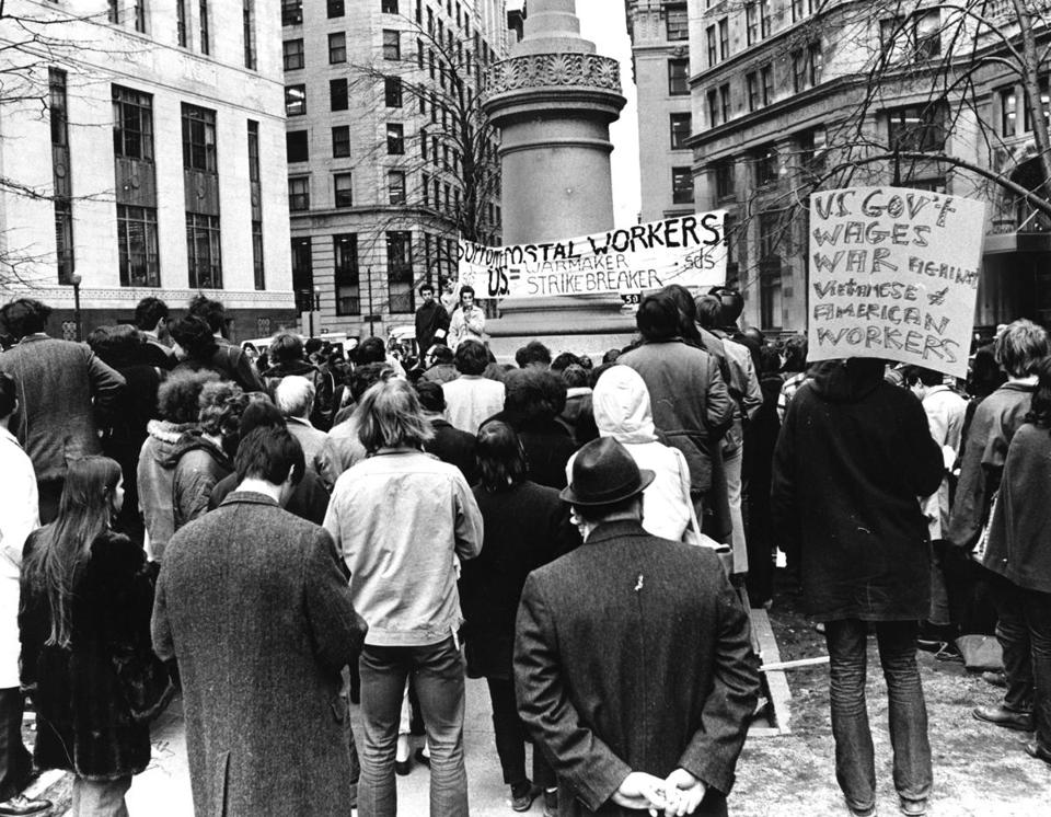 Students for a Democratic Society rallied in support of striking US postal workers in Boston on March 24, 1970.