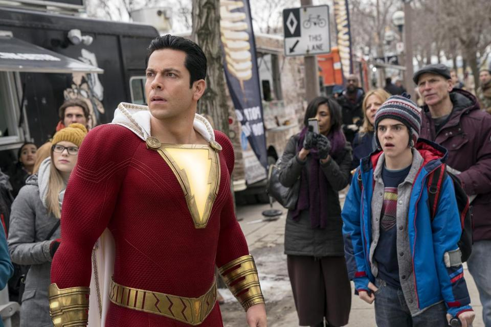 "Zachary Levi (left) and Jack Dylan Grazer in ""Shazam!"""