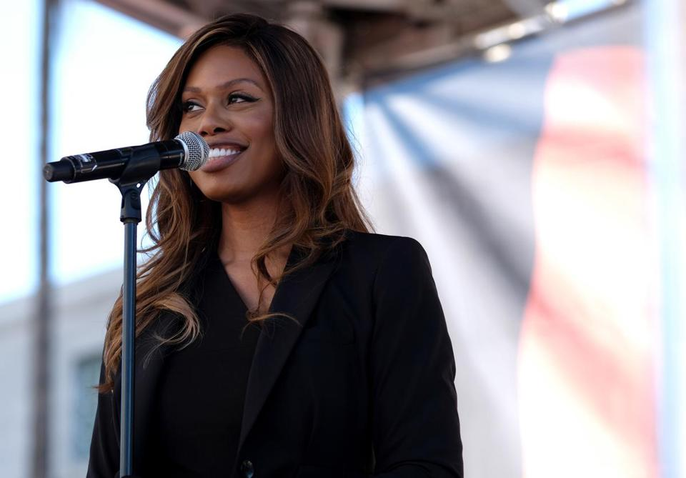 LOS ANGELES, CALIFORNIA - JANUARY 19: Laverne Cox speaks at the Women's March California 2019 on January 19, 2019 in Los Angeles, California. Demonstrations are slated to take place in cities across the country in the third annual event aimed to highlight social change and celebrate women's rights around the world. (Photo by Sarah Morris/Getty Images)