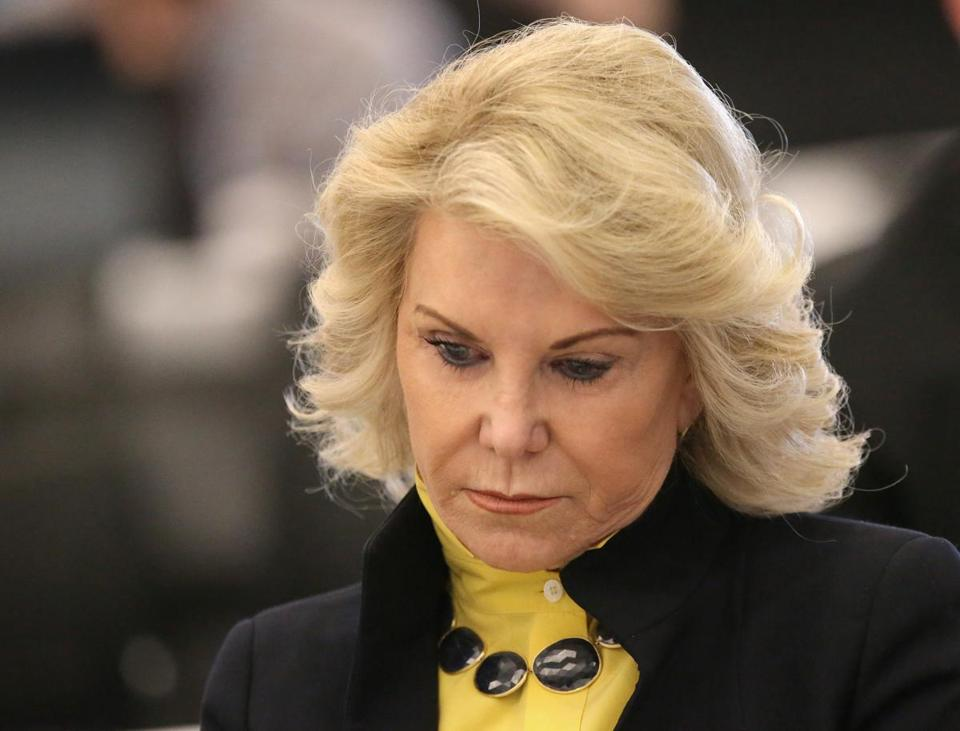 BOSTON, MA - 4/02/2019: Elaine Wynn listens in on the report by Karen Wells, Director Investigations and Enforcement Bureau on the first day of the Massachusetts Gaming Commission's three-day hearing on Wynn Resorts' casino license held at the Boston Convention & Exhibition Center. (David L Ryan/Globe Staff ) SECTION: METRO TOPIC 03gaming