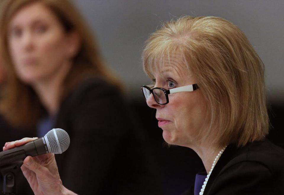 BOSTON, MA - 4/02/2019: Cathy Judd-Stein char representing the Massachusetts Gaming Commission on the first day one of the Massachusetts Gaming Commission's three-day hearing on Wynn Resorts' casino license held at the Boston Convention & Exhibition Center. (David L Ryan/Globe Staff ) SECTION: METRO TOPIC 03gaming