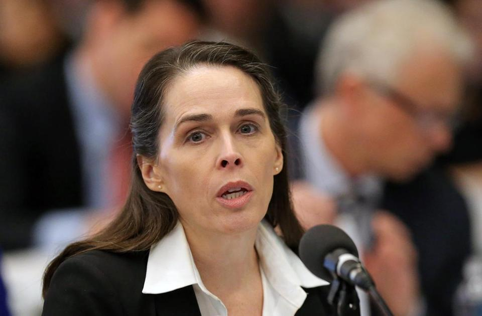 BOSTON, MA - 4/02/2019: Karen Wells Director Investigations and Enforcement Bureau speaking on the first day one of the Massachusetts Gaming Commission's three-day hearing on Wynn Resorts' casino license held at the Boston Convention & Exhibition Center. (David L Ryan/Globe Staff ) SECTION: METRO TOPIC 03gaming