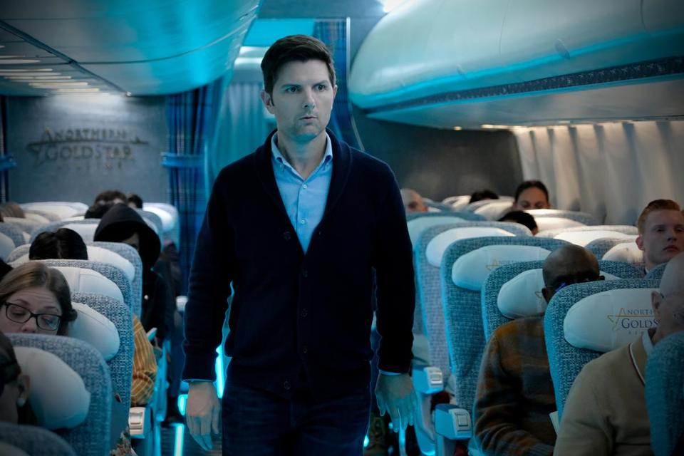 "Adam Scott plays Justin Sanderson in the ""Nightmare at 30,000 Feet"" episode of ""The Twilight Zone."" MUST CREDIT: Robert Falconer, CBS"