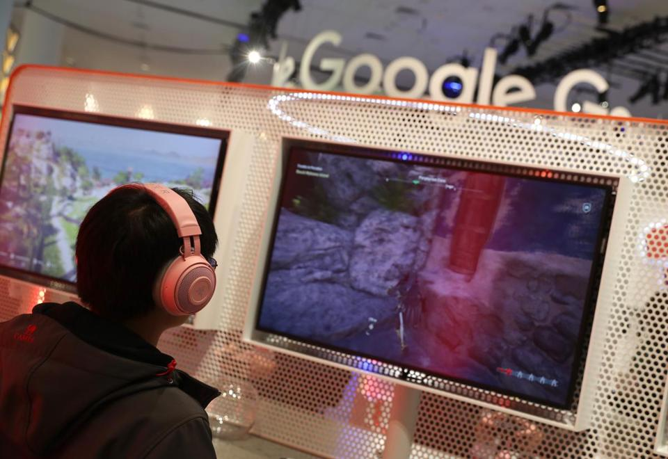 Attendees played games on the new Stadia gaming platform at the Google booth at the 2019 GDC Game Developers Conference in March in San Francisco.