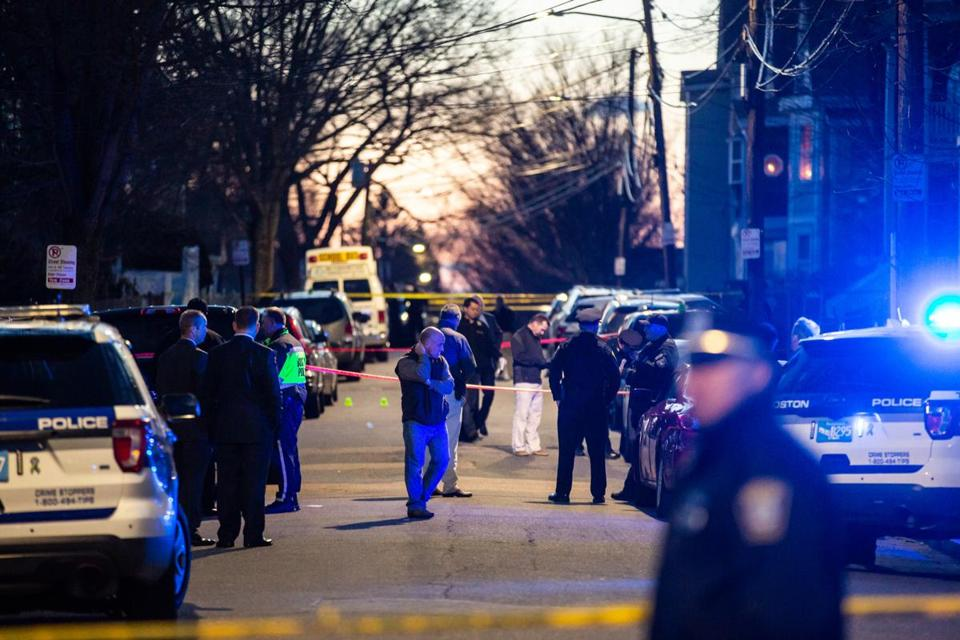 04/06/2019 MATTAPAN, MA Police were on scene at Mattapan Street in Mattapan following a triple shooting with one confirmed fatality. (Aram Boghosian for The Boston Globe)