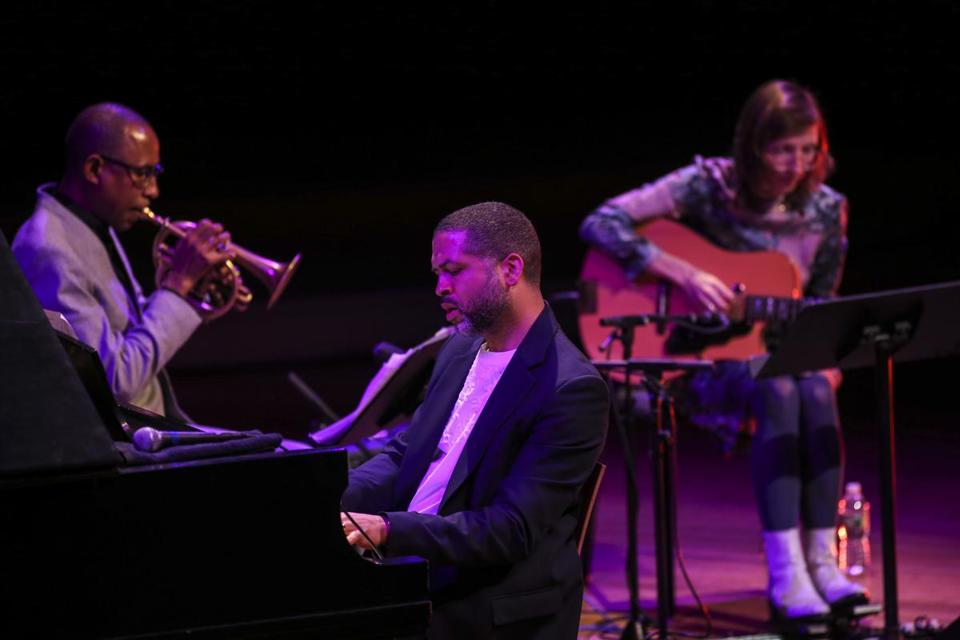 Pianist Jason Moran performed alongside Ron Miles and Mary Halvorson at Sanders Theatre on Sunday.