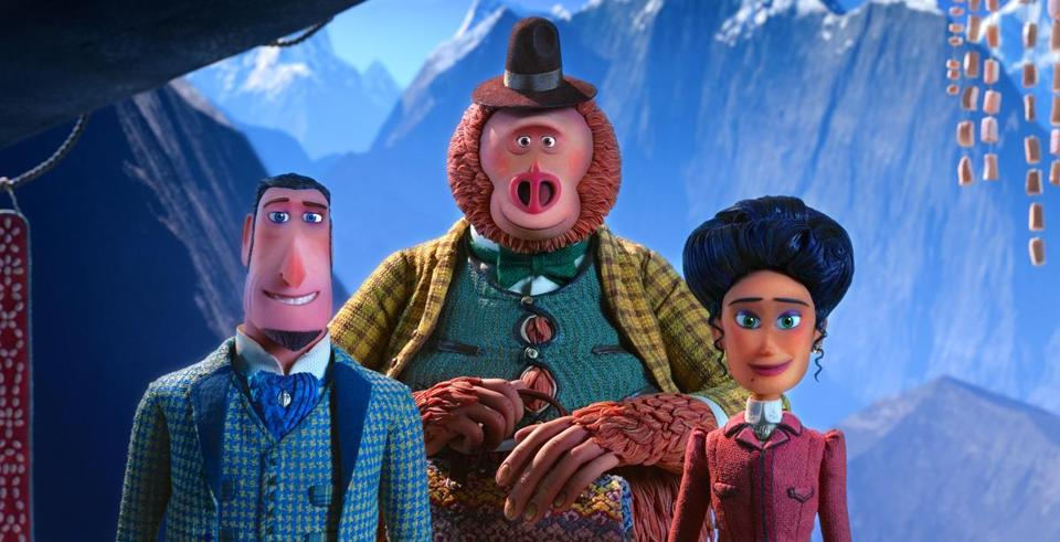 "From left: Sir Lionel Frost voiced by Hugh Jackman, Mr. Link voiced by Zach Galifianakis and Adelina Fortnight voiced by Zoe Saldana in ""Missing Link."""