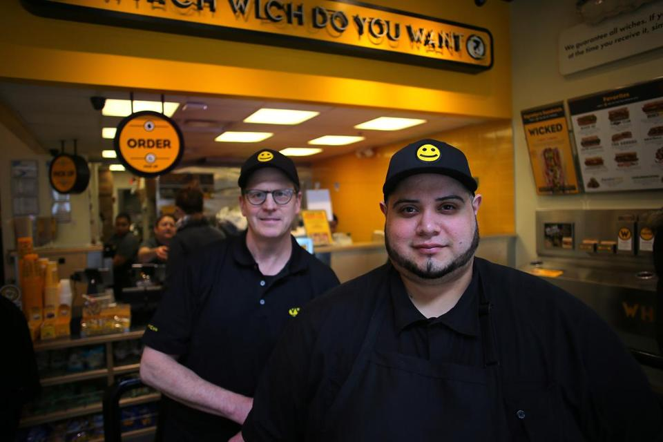Somerville, MA - 04/10/19 - Manager Jose Flores and owner Brek Peterson (left, both cq) at the Assembly Square location of Which Wich restaurant. (Lane Turner/Globe Staff) Reporter: (Katie Johnston) Topic: (15betterjobs)